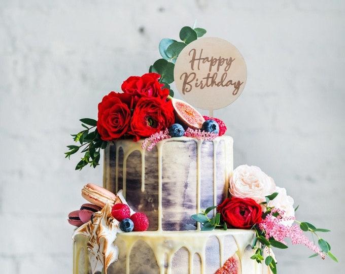 Happy Birthday cake topper. Wood cake topper. Birthday cake topper.