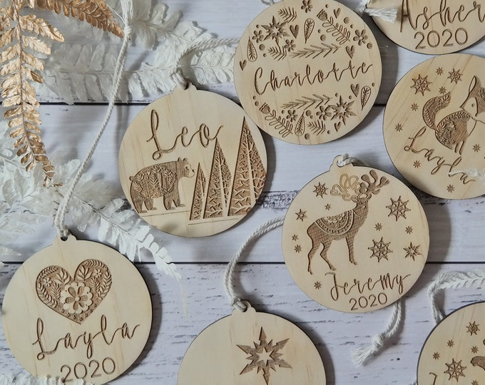 Personalised Christmas decorations. Christmas baubles.