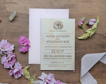 Wedding invitation. Laser engraved wood wedding invitation. Flower and Botanical Designs. 10 pack