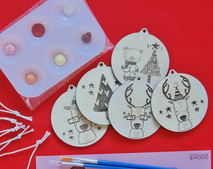 DIY Painting Kit - Paint your own Christmas Baubles  - Reindeers