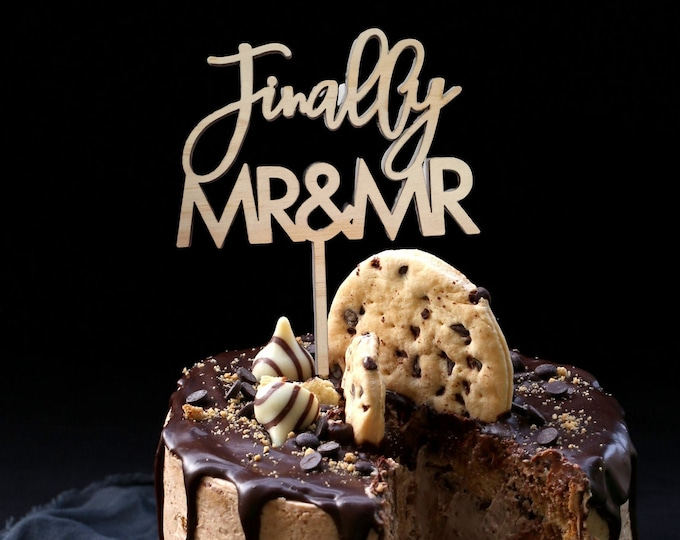 Cake topper - Finally Mr & Mr Wedding Cake Topper - Mr and Mrs - Mrs and Mrs