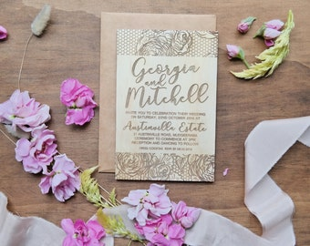 Wedding invitation. Laser engraved wood wedding invitation. Flowers and lace. 10 pack