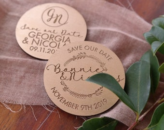 Save the date magnets. 10 pieces. Gold Finish Wood magnets. Gold Wood