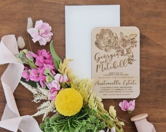 Rustic Wedding invitation. Laser engraved wood wedding invitation. Flower Designs- 10 pack