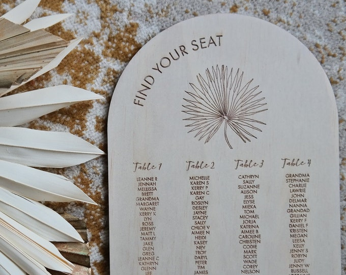 Pandanus Palm Seating Chart Sign. Wood.