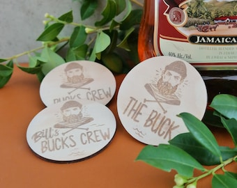 Bucks Night wood etched badge - 5pk