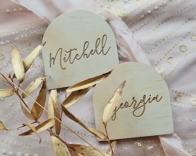 Protea Arch Place cards- Wood place cards.