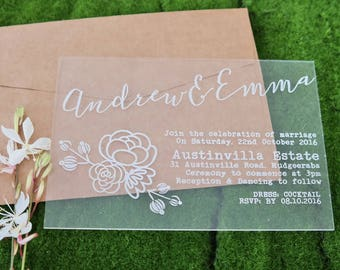 Boho Wedding Invitation, laser engraved acrylic stationery. Pack of 10.