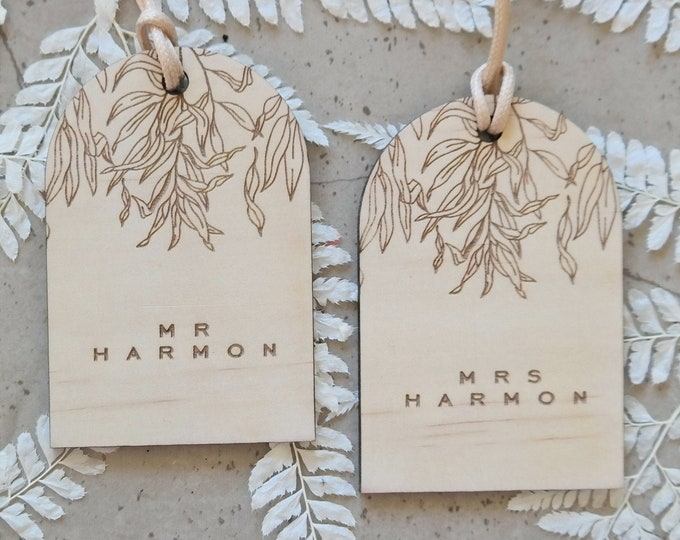 Luggage tags. Customised Newly Wed Gifts. Set of 2