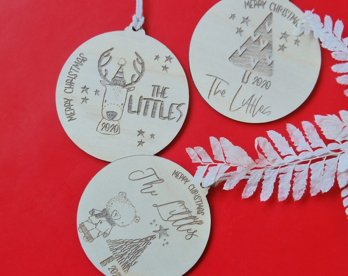 Christmas Baubles - FAMILY GIFTS - Ornaments - Reindeer Fun - Wood Bauble