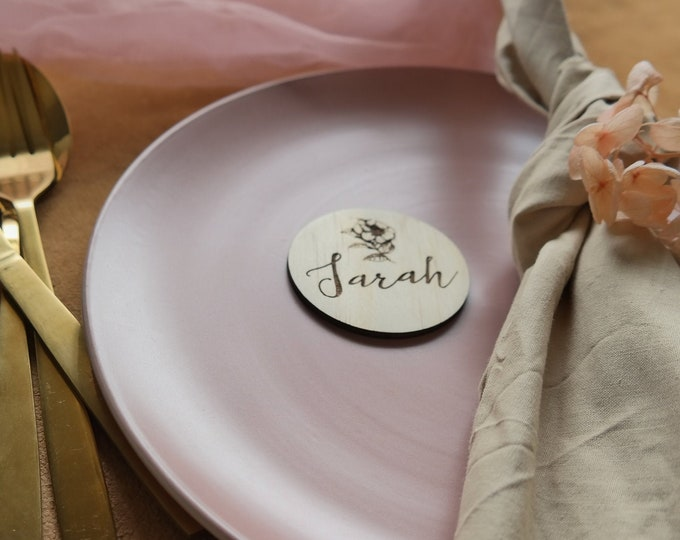 Wild Beauty Round Wood Place cards