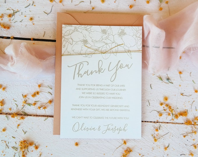Bloom Thank you card wedding - Pink. Set of 10