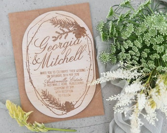 Botanical wedding invitation. Laser engraved wood wedding invitation. 10 pack