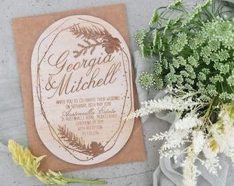 Botanical wedding invitation. Laser engraved wood wedding invitation. 10 pack