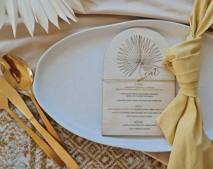 Pandanus Palm Menu Card - Wood Menu - Dome - Set of 10