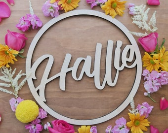 Name Signs. Name hoops. - Customised timber laser cut hoops -Small