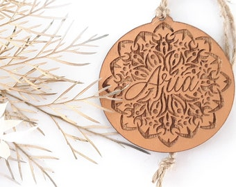 Copper snowflake Christmas decorations. Personalised Christmas baubles.