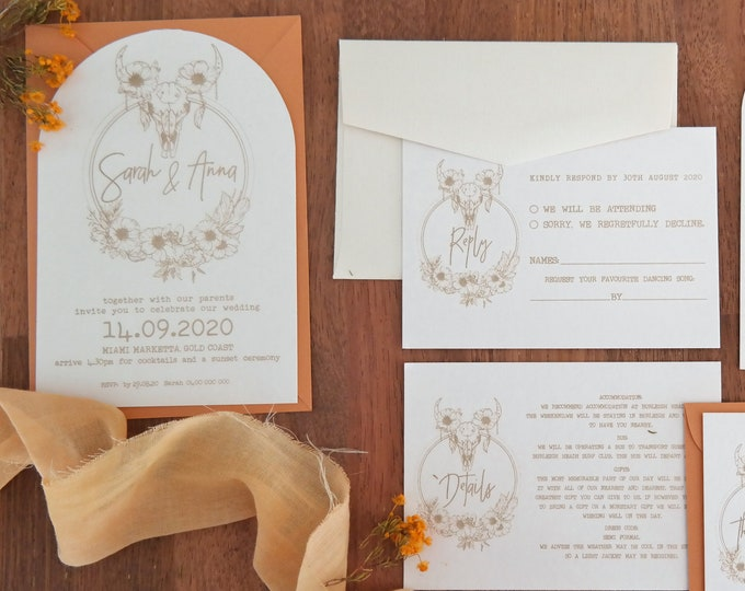 Boho Chic Wedding Invitations - Boho Skulls - Set of 10 and Bundle
