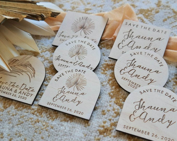 Save the Date Magnets - Wedding Save the Date cards. Pandanus Palm. Set of 10