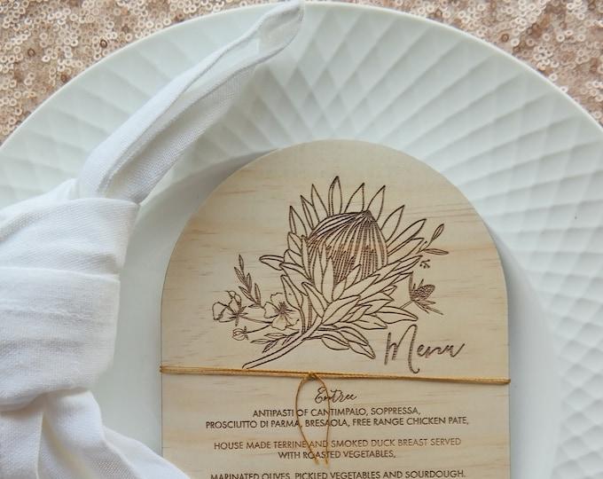 Protea Menu Card - Wood Menu - Dome. Set of 10