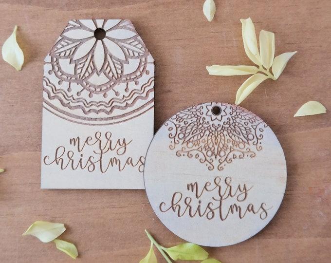 Christmas gift tags. Wooden gift tag. Mandala snowflakes.
