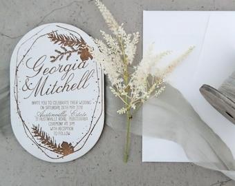 Botanical wedding invitation. White Wedding invite. Laser engraved wood wedding invitation. 10 pack