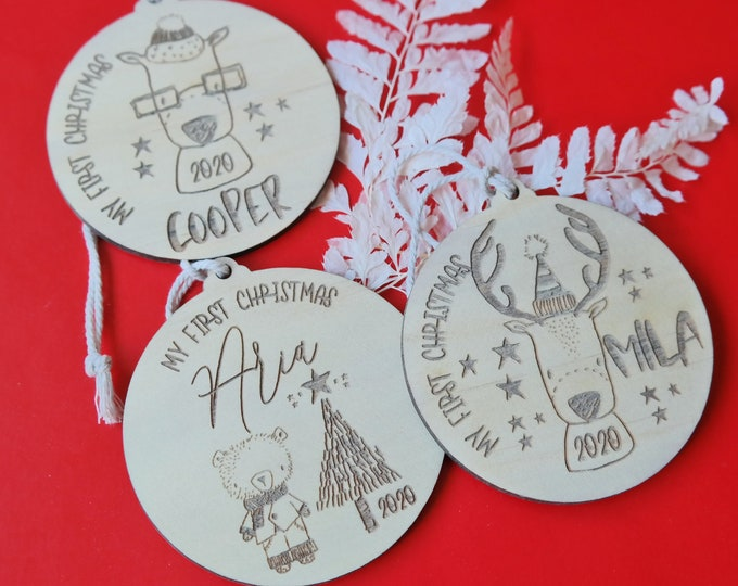 FIRST CHRISTMAS BAUBLES - Ornaments - Reindeer Fun - Wood Bauble