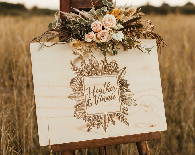 Featured listing image: Wedding Welcome Sign. Large Wedding Signs. Australian Natives.