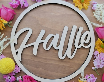 Name Signs - Hoop signs. - Customised timber laser cut hoops