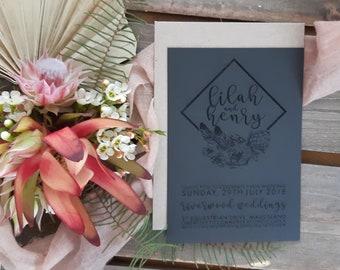 Bohemian wedding stationery - Geometric Boho Florals - Pack of 10