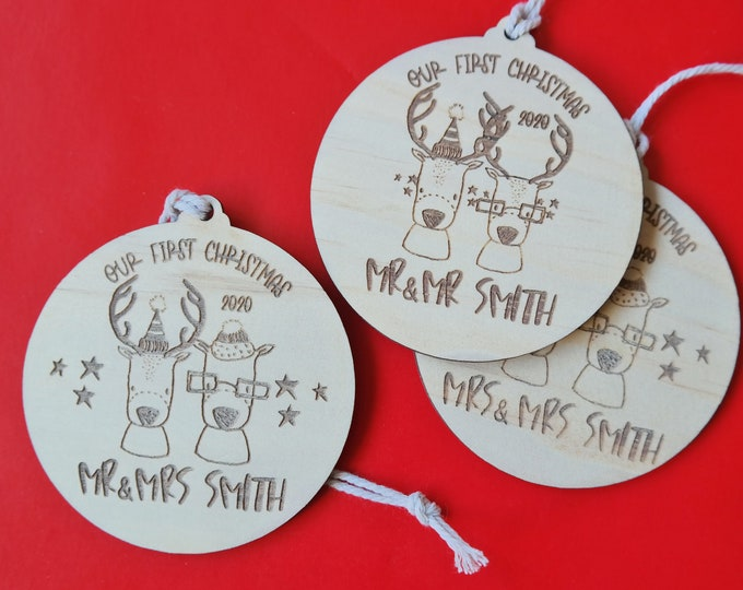 NEWLY WEDS BAUBLES - Ornaments - Retro Florals - Wood Bauble