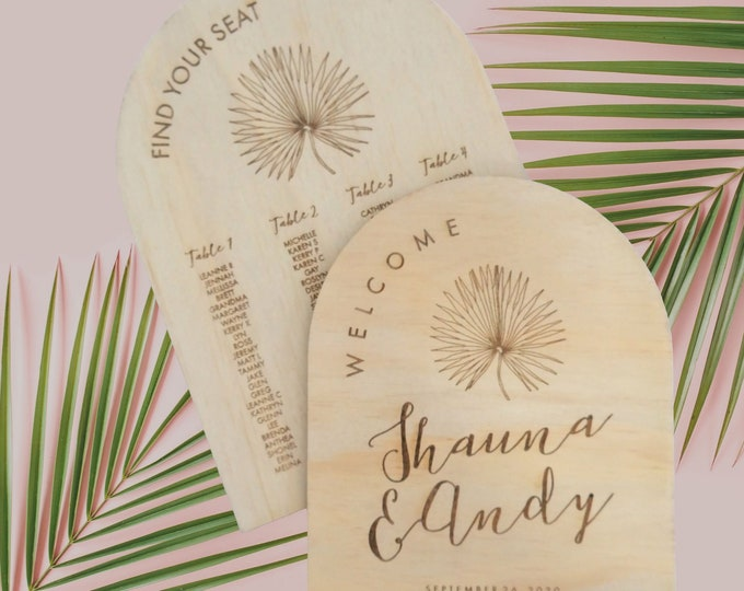 Pandanus Palm Welcome Sign and Seating Chart Pack.