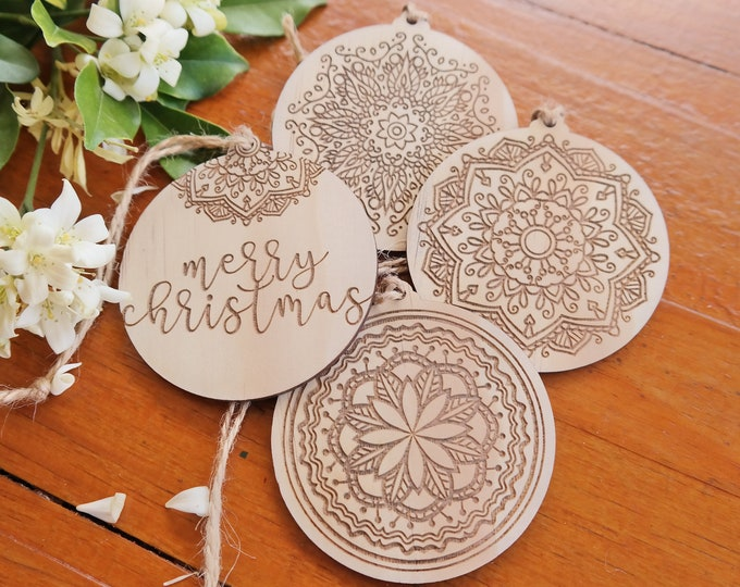Wood Christmas bauble. Mandala christmas baubles. Set of 4