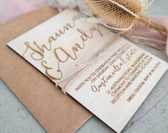 Rustic wedding invitation. Laser engraved wood and twine wedding invitation. 10 pack