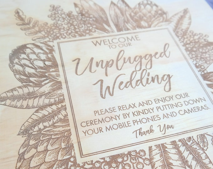 Unplugged Wedding Sign. Laser engraved wood wedding signs