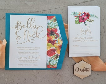 Wedding invitation. Engraved paper invitation. tropical. Teal - Pack of 10