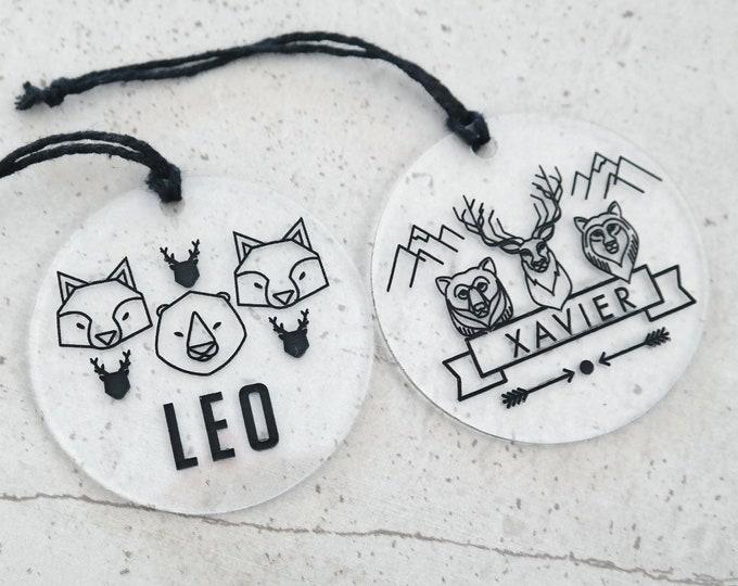 Bag Tags. Acrylic bag tags for boys and girls. Small