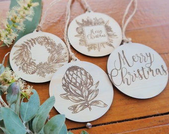 Wood Christmas bauble. Australian natives christmas baubles. Set of 4
