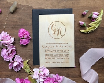 Wedding invitation. Laser engraved monogram wedding invites. Wood. 10 pack