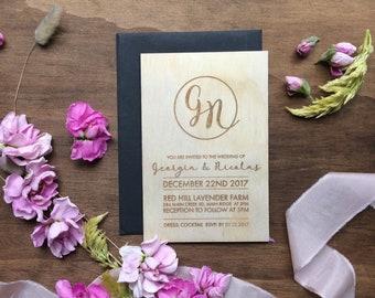 Wedding invitation. Laser engraved Modern wedding invites. Wood. 10 pack