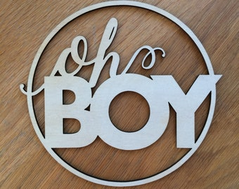 Oh Boy sign. Baby Shower wood sign