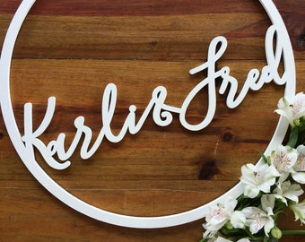 Round Signs - Wedding Hoop signs. - Customised timber laser cut hoops