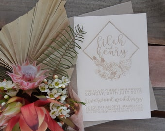 Ivory wedding stationery - Geometric Bohemian Florals - Pack of 10