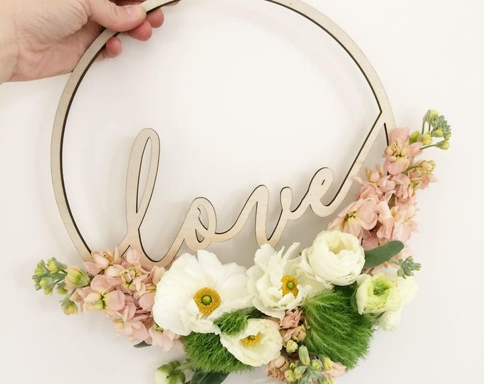 Wedding Sign or Bouquet Hoops - Love timber laser cut bouquet hoops