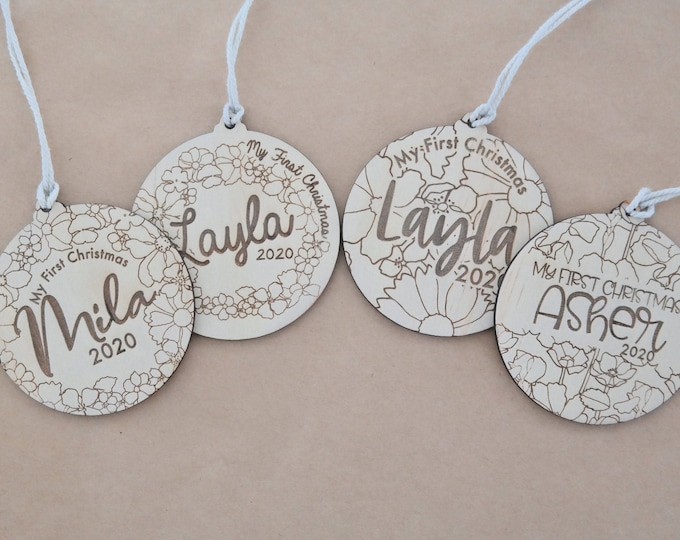 FIRST CHRISTMAS BAUBLES - Ornaments - Retro Florals - Wood Bauble