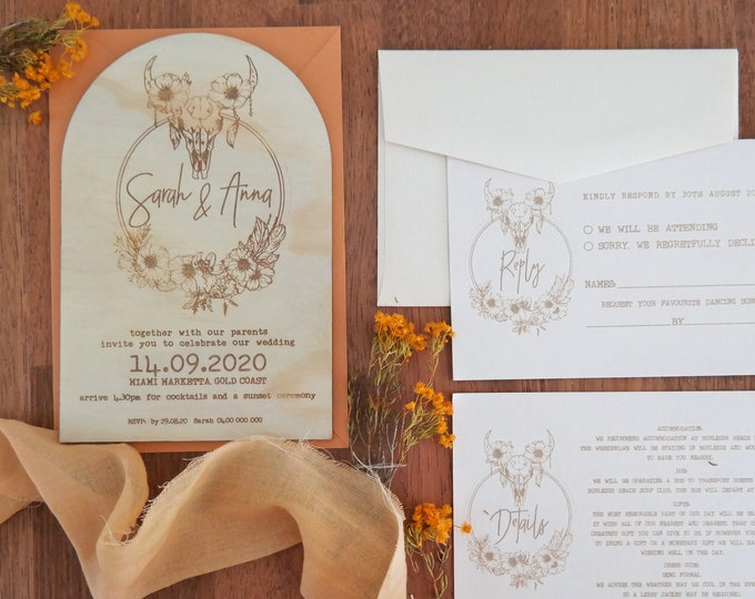 Boho Chic Arch Wedding Invititation - Wood Invitations - Set of 10 or Bundle.