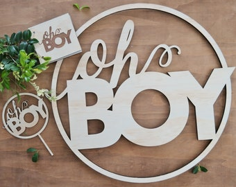 Oh Boy Baby Shower set. Baby Shower wood sign.