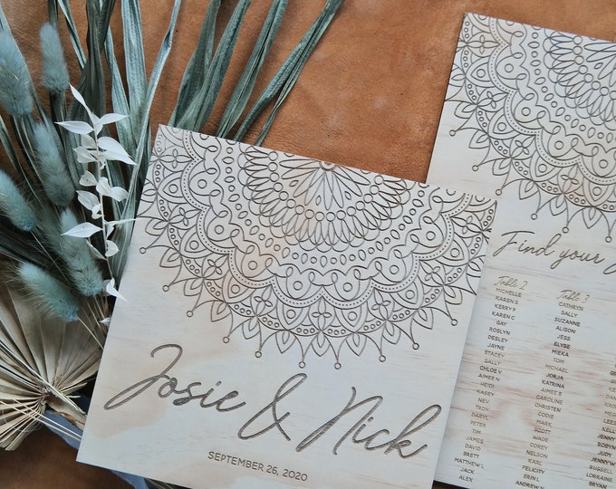 Mandala Wedding Sign Pack. Welcome Sign and Seating Chart.
