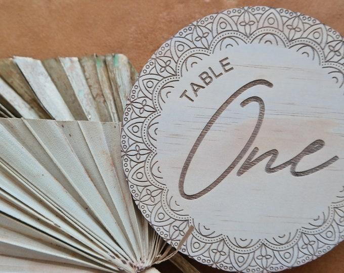 Mandala Round Table numbers - wood table numbers