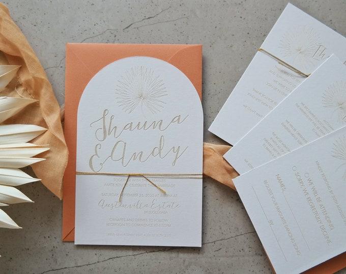 Pandanus Palm Wedding Invitation Suite. Set of 10 and bundle.